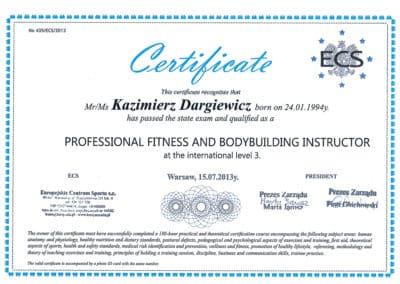 Kazimierz Dargiewicz Certyfikat 3
