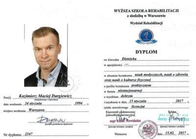 Kazimierz Dargiewicz Dyplom